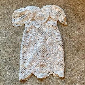 Lulus White Off Shoulder Crochet Dress